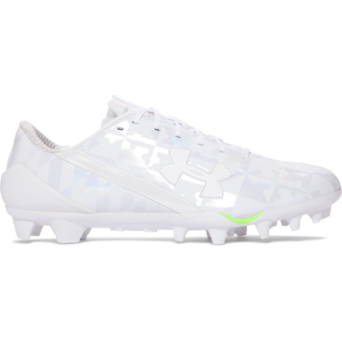 2439e7725ce5 Under Armour Spotlight Lacrosse Cleat in White Icy Diamond synthetic upper  offers superior fit and stability Seamlessly molded heel cup for a precise  feel, ...