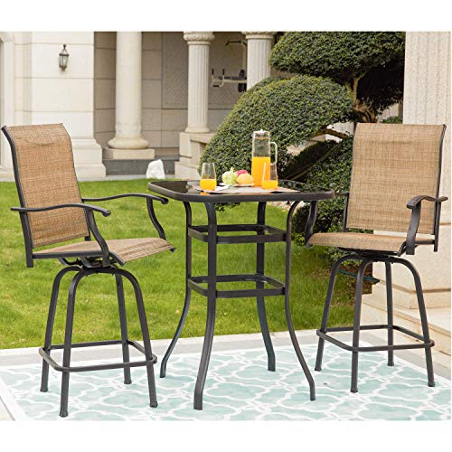 Lokatse Home 3 Pcs High Swivel Stools 2 Tall Chairs And 1 Height Outdoor Bistro Sale Patio Furniture Sets Shop Backyardequip Com In 2020 Bistro Table Outdoor Patio Bar Set Patio Bar Stools