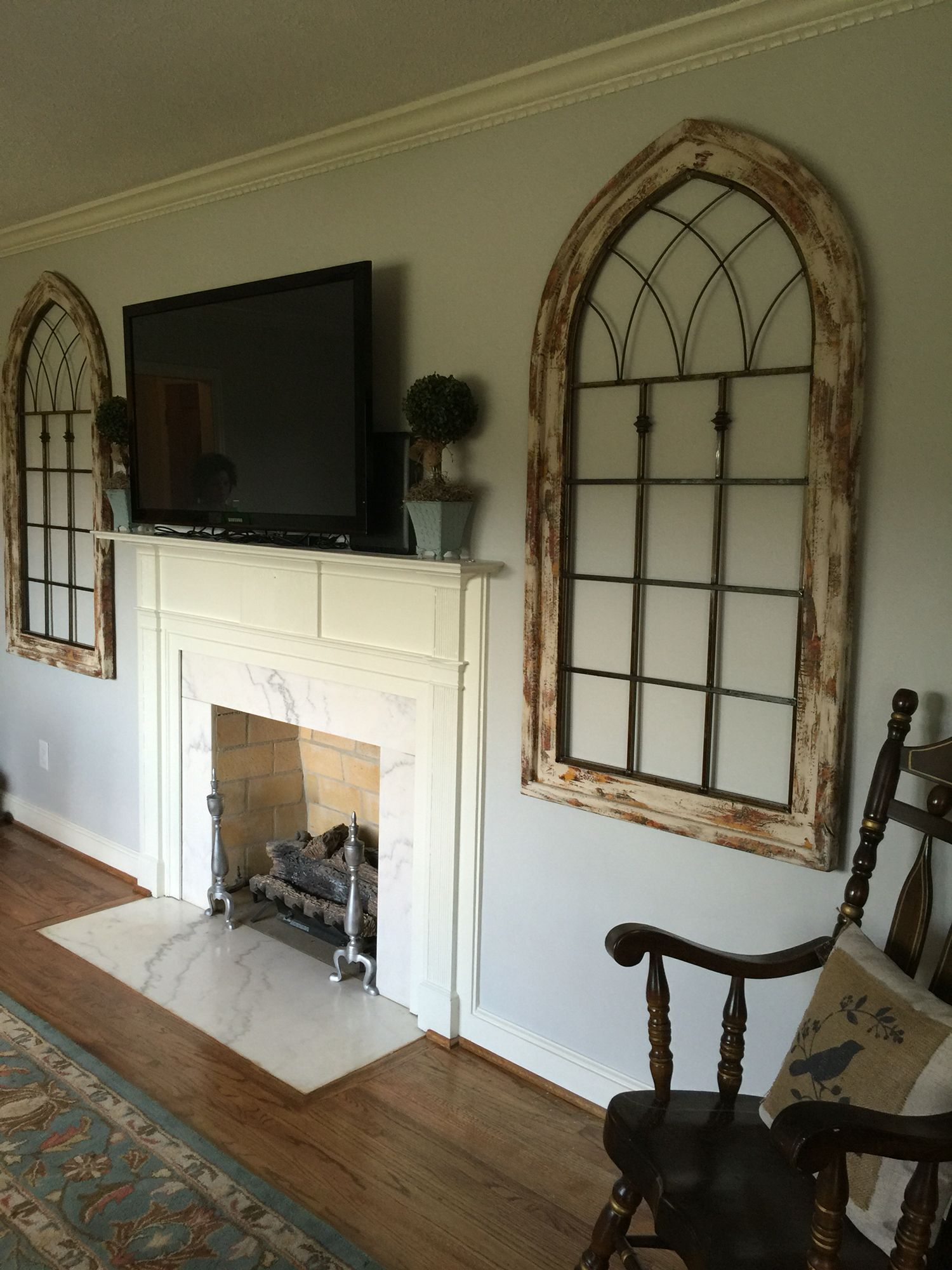 Business Design A House And Window: Living Room. We Added These Large Cathedral Windows To Either Side Of The Fireplace