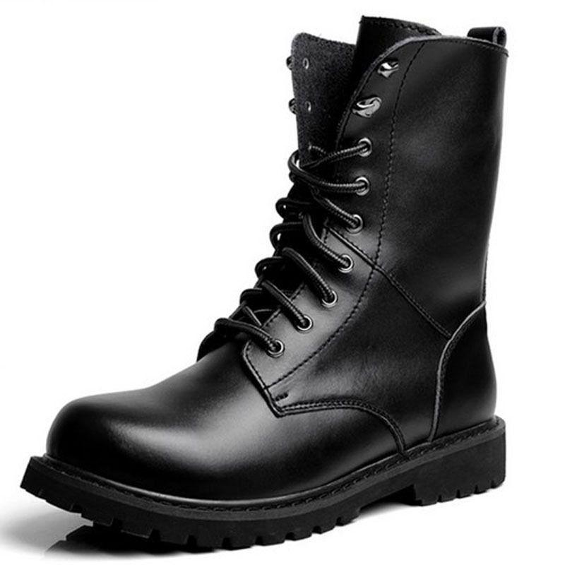 Mid Calf Work Boots | Black boots men