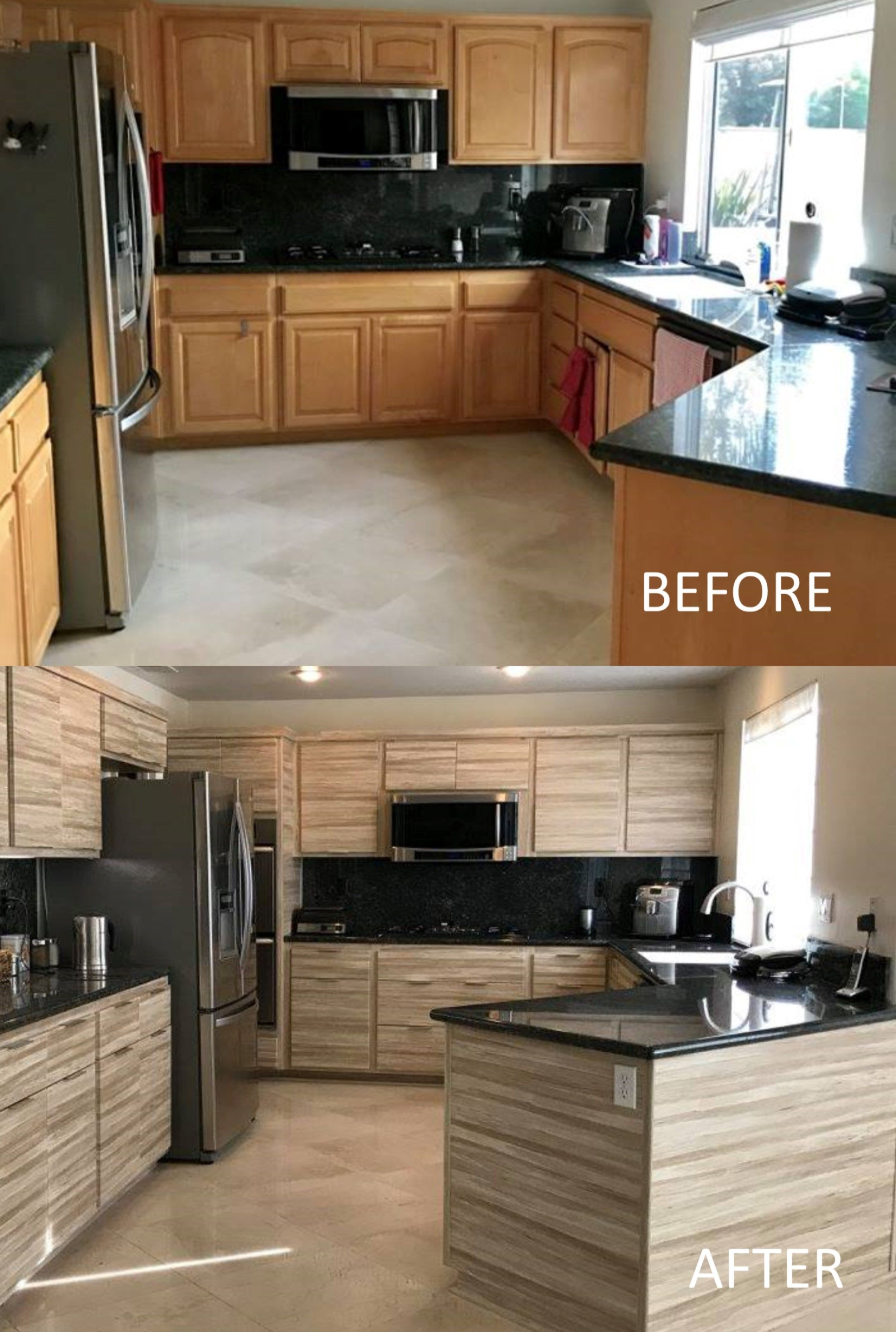 Kitchen Cabinet Reface-Before And After