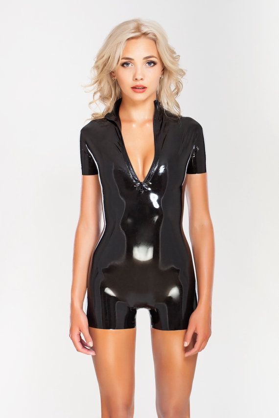 22288714fb Sexy short latex catsuit with front zipper
