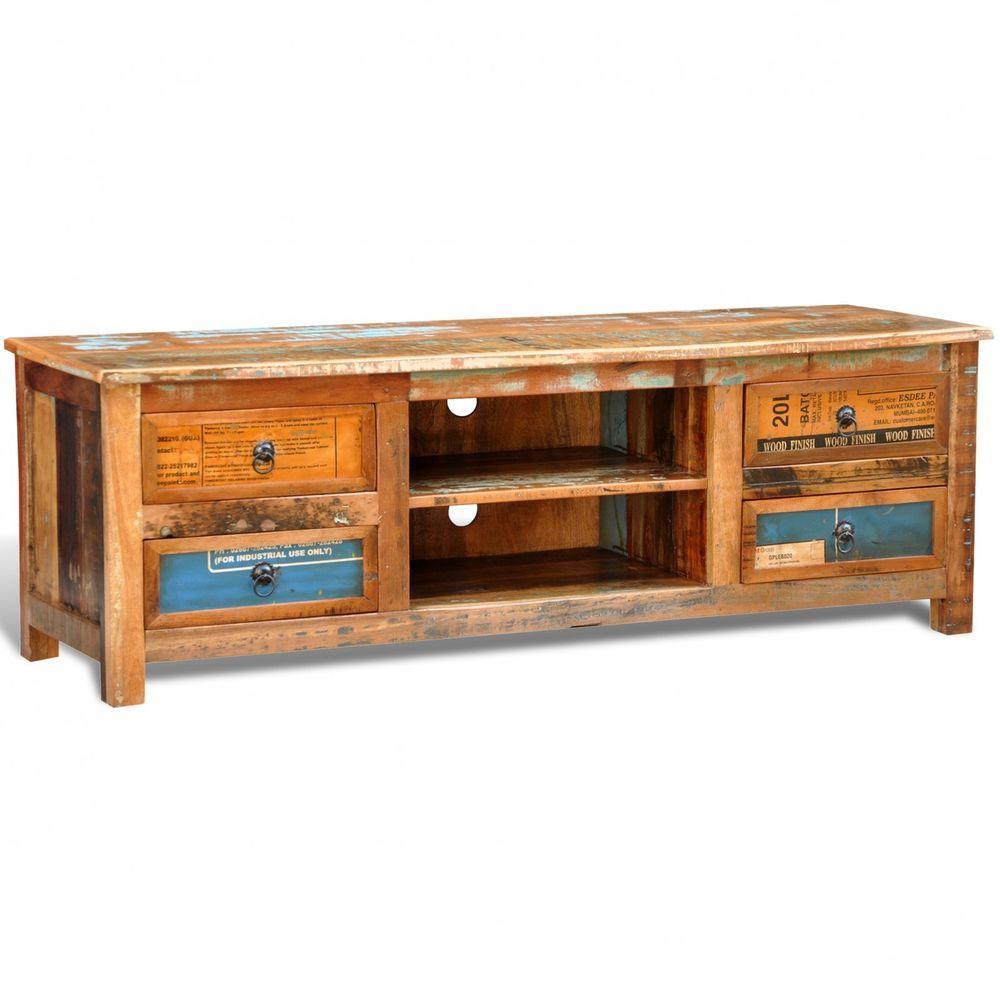 antik tv media hifi rack lowboard sideboard fernsehtisch vintage 4 schubladen in m bel. Black Bedroom Furniture Sets. Home Design Ideas