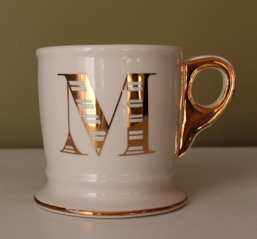 ANTHROPOLOGIE Letter M Limited Edition Golden Monogram Mug Gold Ivory Coffee Cup #Anthropologie