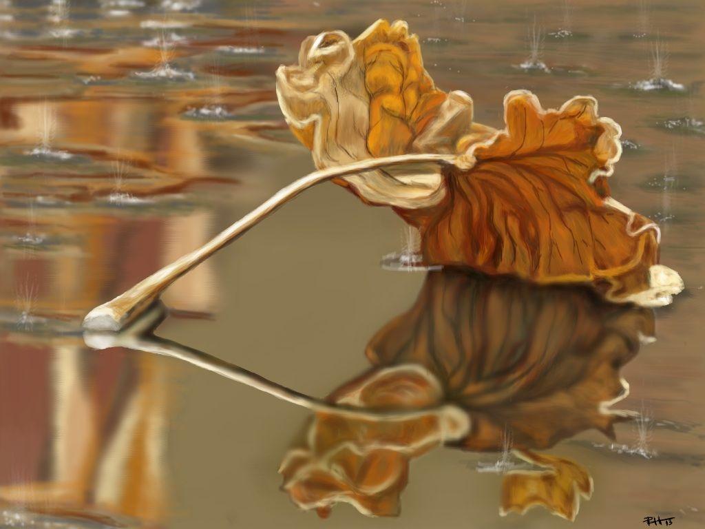 La hoja y la lluvia.  Pintura digital en IPad con Ibis Paint app.