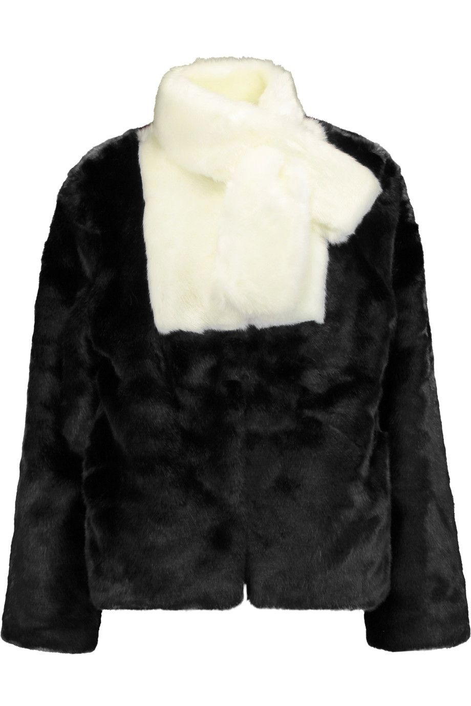 GOEN J Two-tone faux fur coat. #goenj #cloth #coat