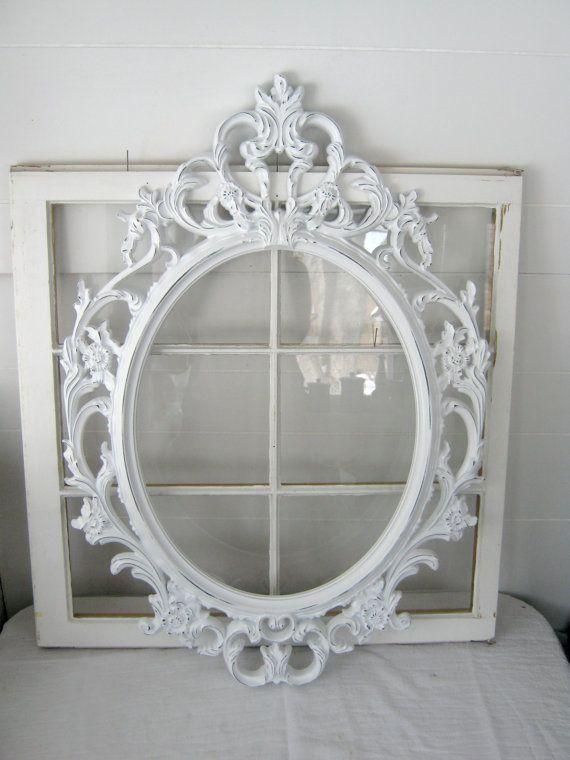 Distressed White Baroque Frame -Distressed White - Ornate Frame ...