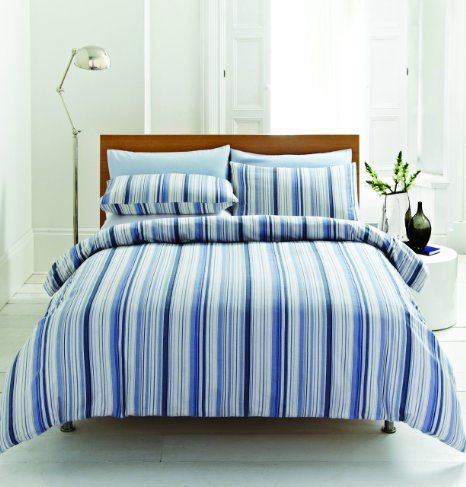 Blue Stripe 100% Brushed Cotton Flannelette Super King Size Duvet Cover Set: Amazon.co.uk: Kitchen & Home