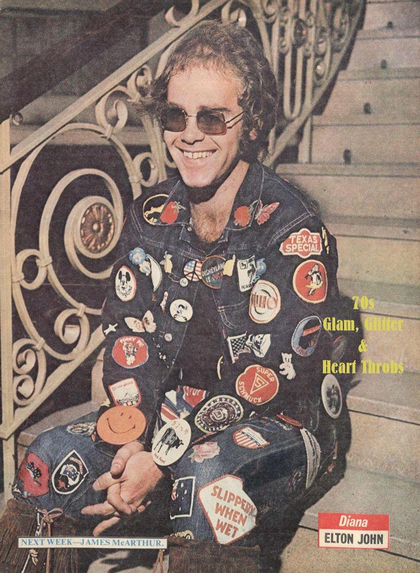 Elton John Double Denim Patch Outfit Denim Patches Outfit Elton John Denim Patches [ 1136 x 832 Pixel ]