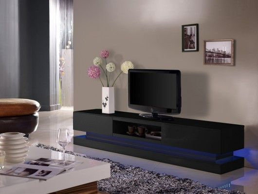 meuble tv firmament mdf laque noir
