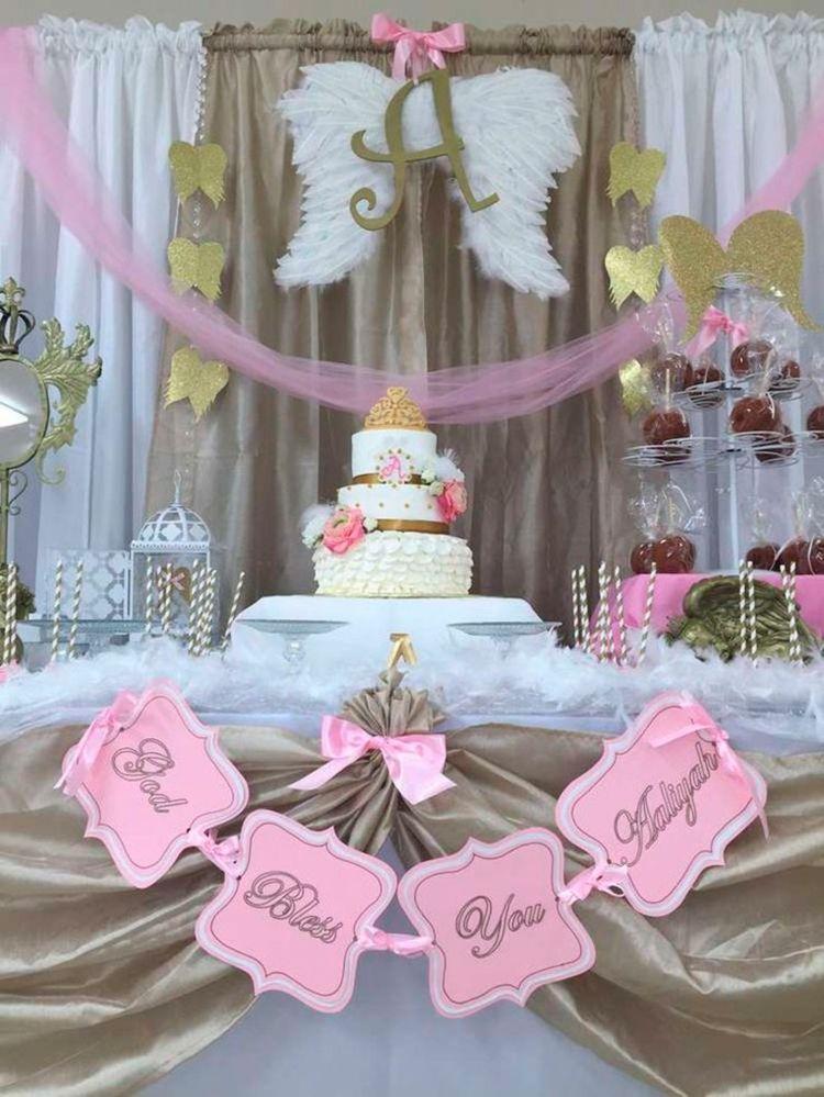 Tischdekoration In Rosa Und Gold Fur Eine Taufe Tischdeko