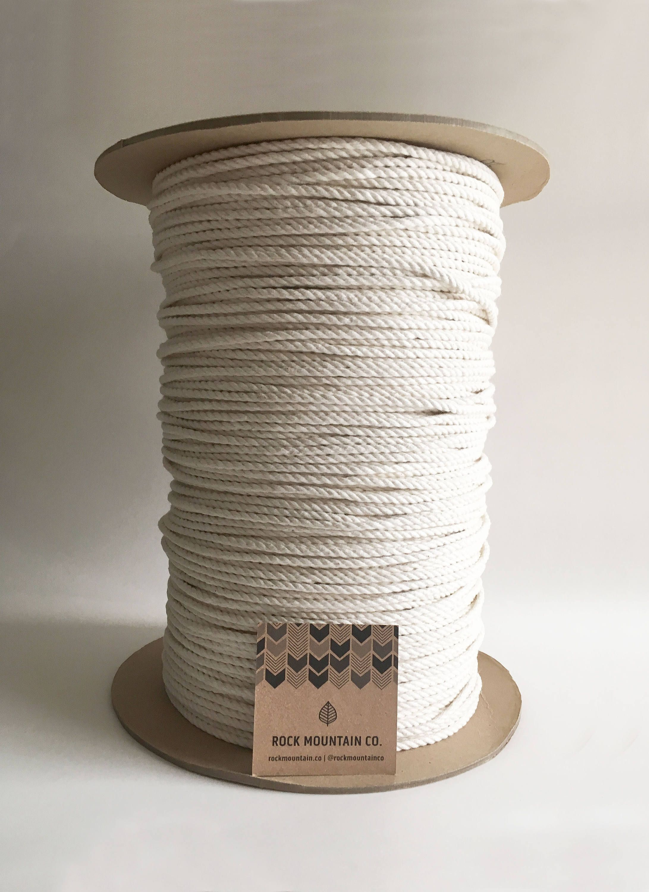 4mm X 1200 Ft 3 Strand Macrame Cord 100 Cotton Fiber Art Rope 1 8 3ply Extra Large Bulk Spool Sold By Rockmountainc Macrame Cord Macrame Macrame Supplies