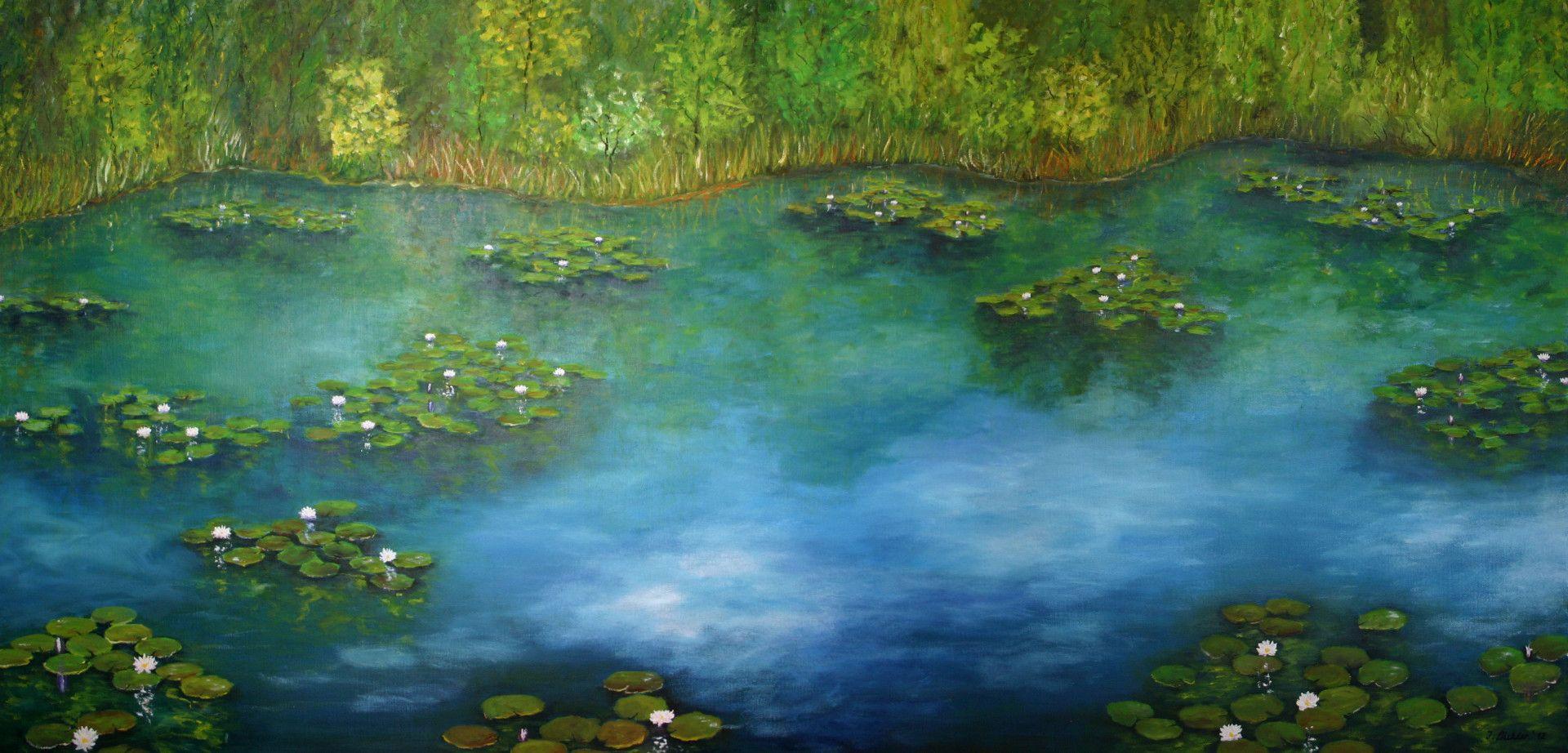 Seerosen mit Spiegelungen von Kunstmaler Josef Biehler