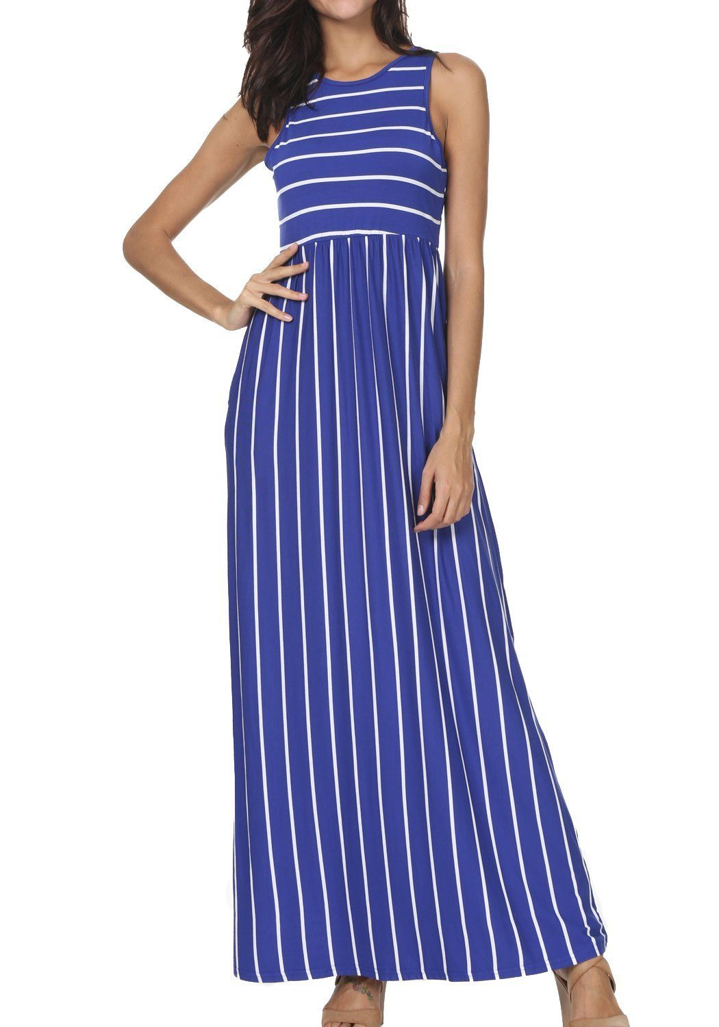 b5c7c33a06b1d Women's Summer Sleeveless Striped Pockets Flowy Casual Long Maxi Dress
