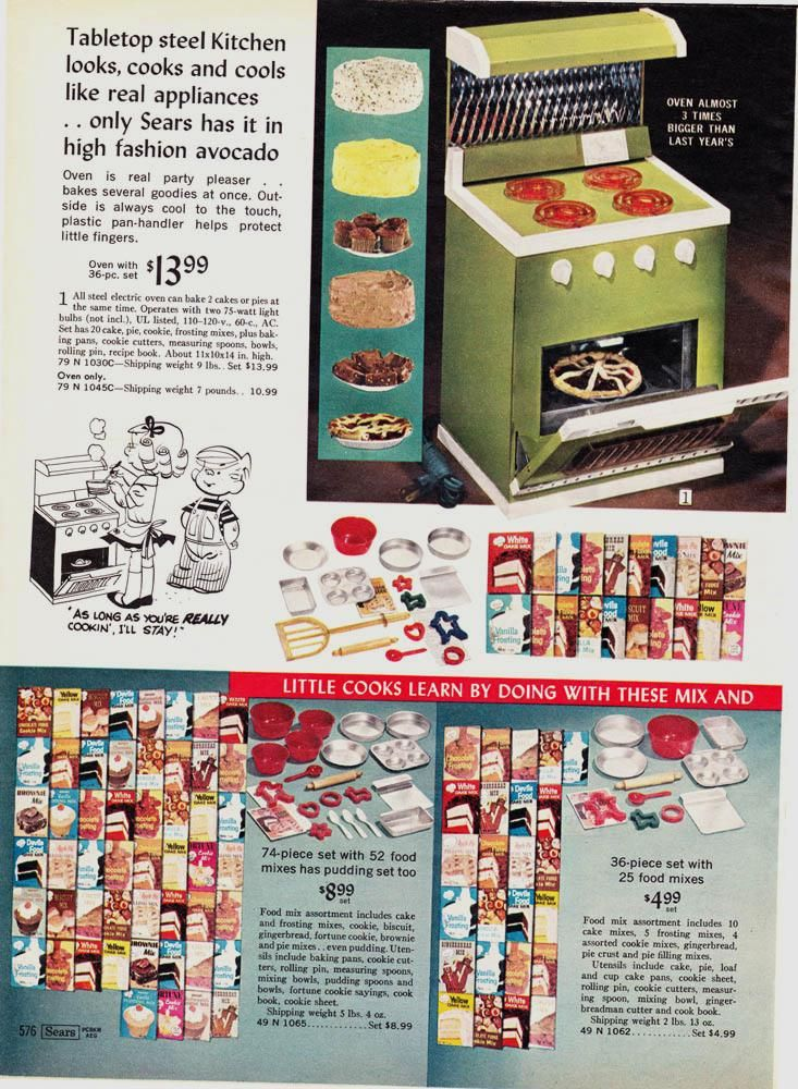 From The 1968 Sears Wishbook Toy Ovens And Junior Chef Baking Sets Left Side Page Baking Set Junior Chef Oven Appliance