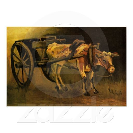 Cart with Red and White Ox by Vincent van Gogh - Oil