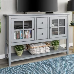 Walker Edison Furniture Company 52 In Transitional Wood And Glass Buffet Antique Grey Hd52c4ctagy The Home Depot White Furniture Living Room Home Kitchens Furniture