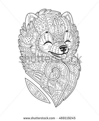 Pomeranian spitz. Adult antistress coloring page. Zendoodle ...