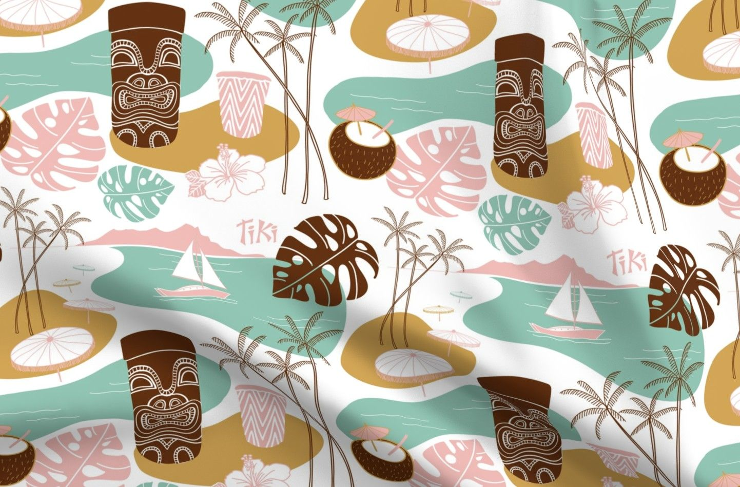 Colorful Fabrics Digitally Printed By Spoonflower Mid Century Modern Tiki Time In 2021 Tiki Spoonflower Pastel Colors