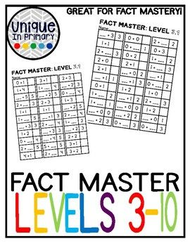 Addition Fact Master: Numbers 3-10; breaking apart numbers ...