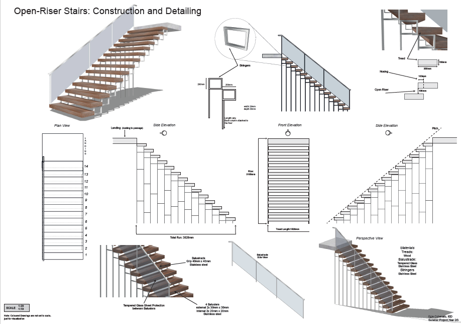 Open Riser Stairs Construction And Detailing In 2020 Architecture Drawing Environmental Design Stairs