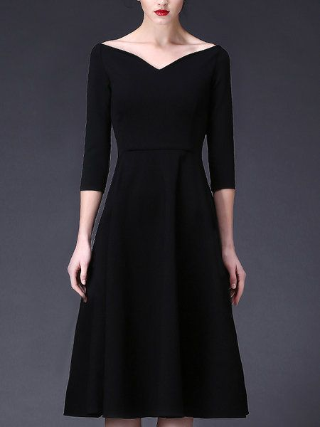 0c9966888b85 Shop Midi Dresses - Vintage 3/4 Sleeve A-line Shirred V neck Midi ...