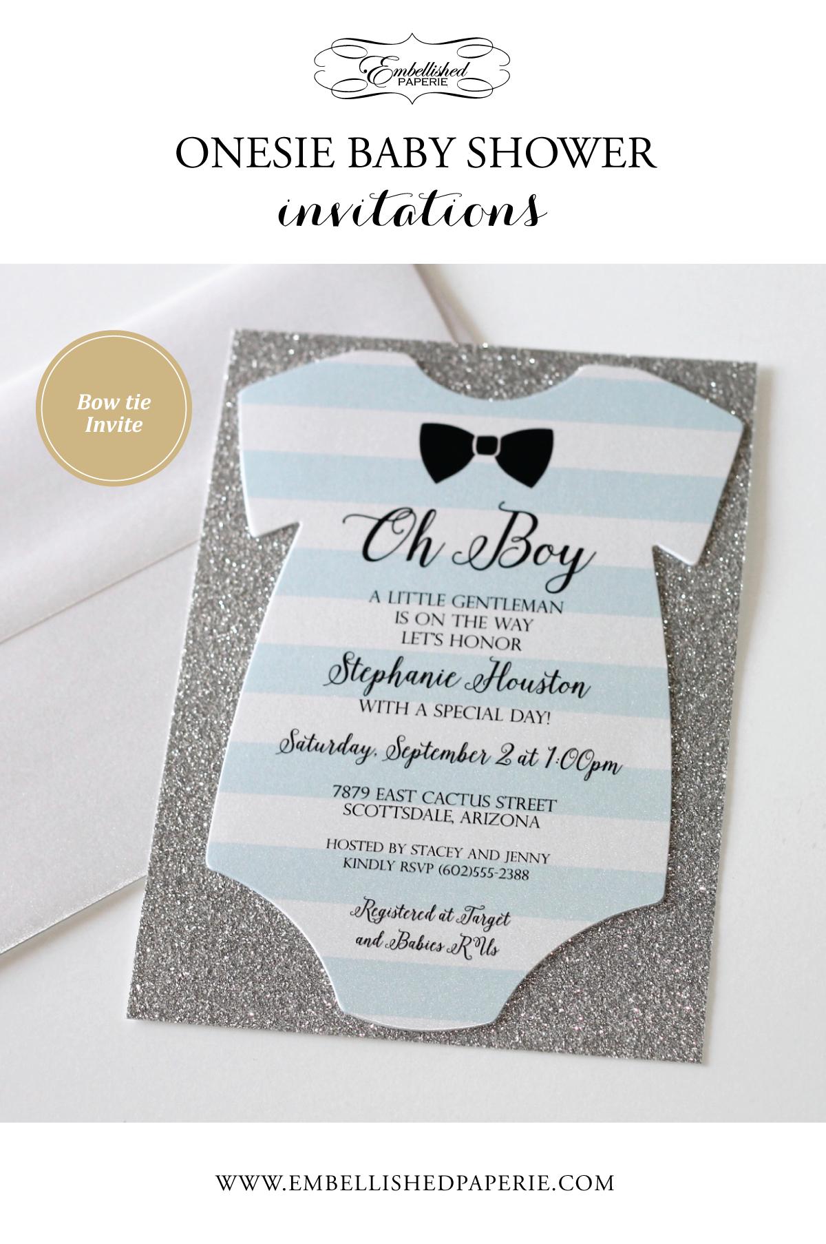 Baby Shower Onesie Invitation Glitter