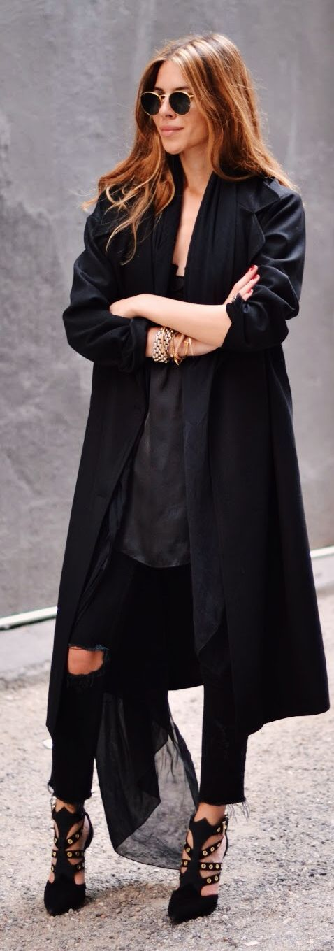 Lori Blu Black Strappy Ankle Stilettos; and that coat is sharp!
