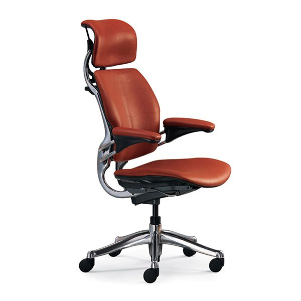 Leather · Humanscale Freedom Chair With Headrest   In Earth Red Lotus    Polished Base, Titanium Trim