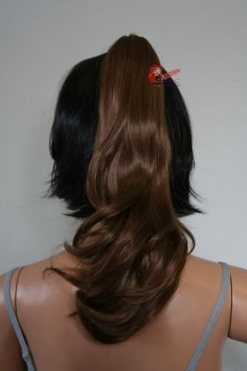 "20"" Light Brown Wavy Curly Ponytail Clipon"
