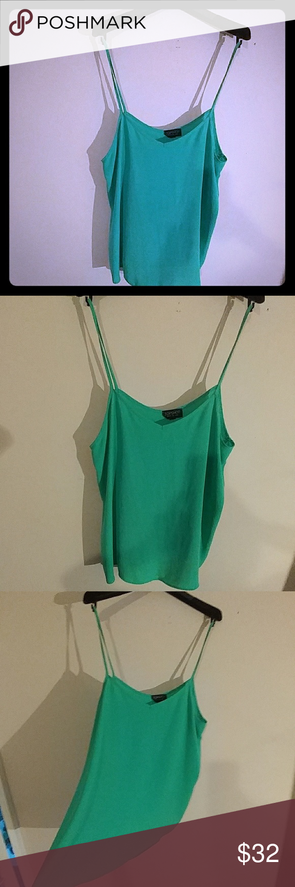 Green Summer camisol Super fun color.* I wore this a few times,looks fun with a different color or green bra underneath it with skinny straps Topshop Tops Tank Tops