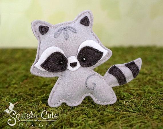 Felt raccoon toy raccoon stuffed animal Plush raccoon Toy raccoon nursery decor woodland nursery decor gray raccoon