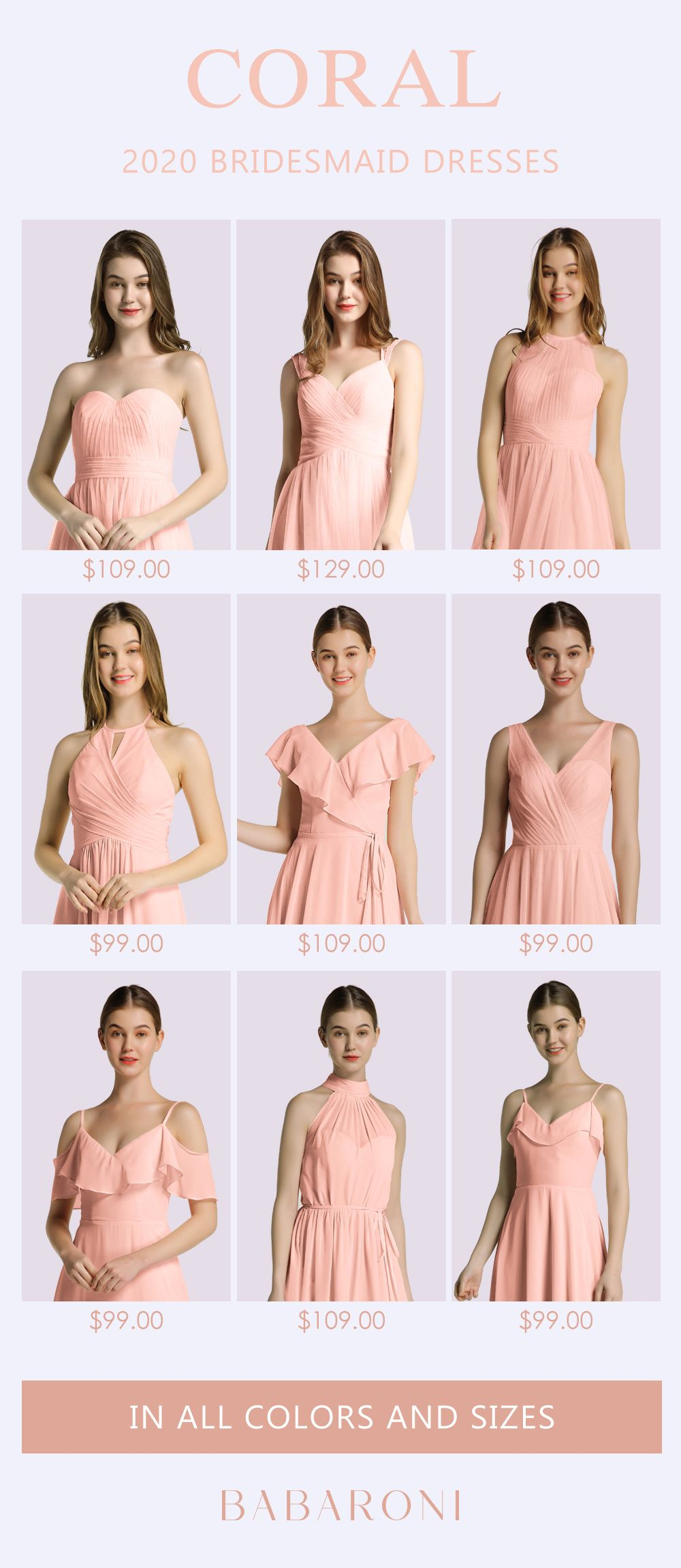 Bridesmaid Dresses In 2020 Coral Colored Bridesmaid Dresses Bridesmaid Dress Collection Bridesmaid Dresses