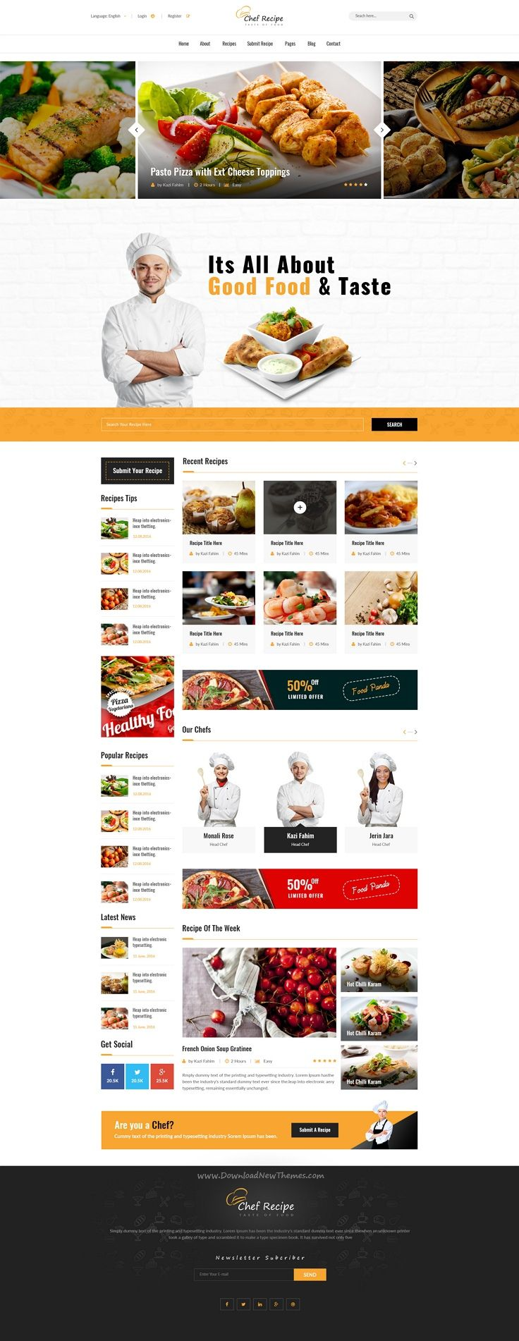 Chef Recipe Is Perfect Premium 3 In 1 PSD Template Designed For Cafe And Recipes Website Download Now