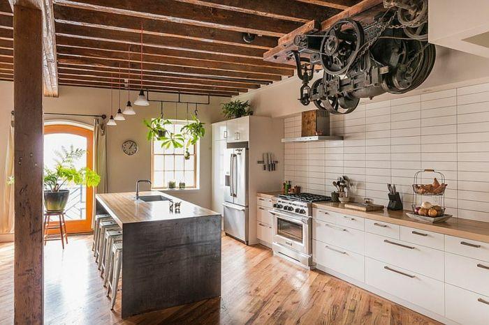 100 Kücheneinrichtung Beispiele mit industriellem Look Küche Möbel