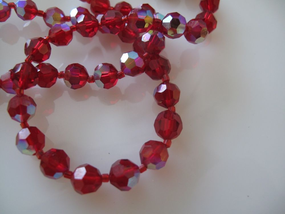 Vintage Red Glass Bead Necklace Estate Jewelry Glass Bead Necklace Vintage Beads Necklace Jewelry