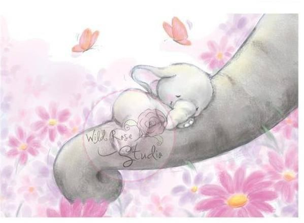 Image result for mom and baby elephant drawing