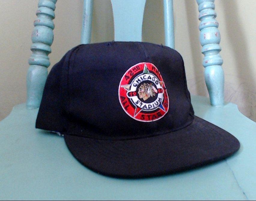 5a92ab4052d ... ireland 90s chicago blackhawks snapback hat 42nd nhl all star game  chicago stadium 1991 hockey sports
