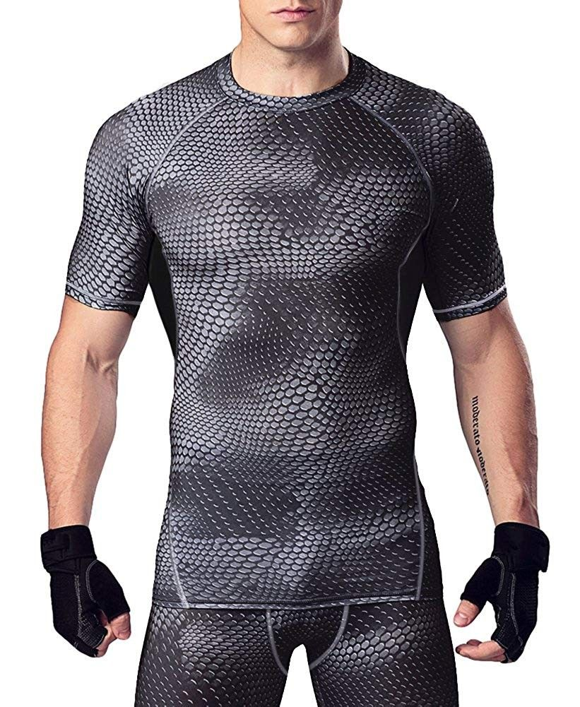 Men's Althletic Mesh Compression Baselayer Shirt - Dark_grey - CC182Q08XLY - Sports & Fitness Clothi...