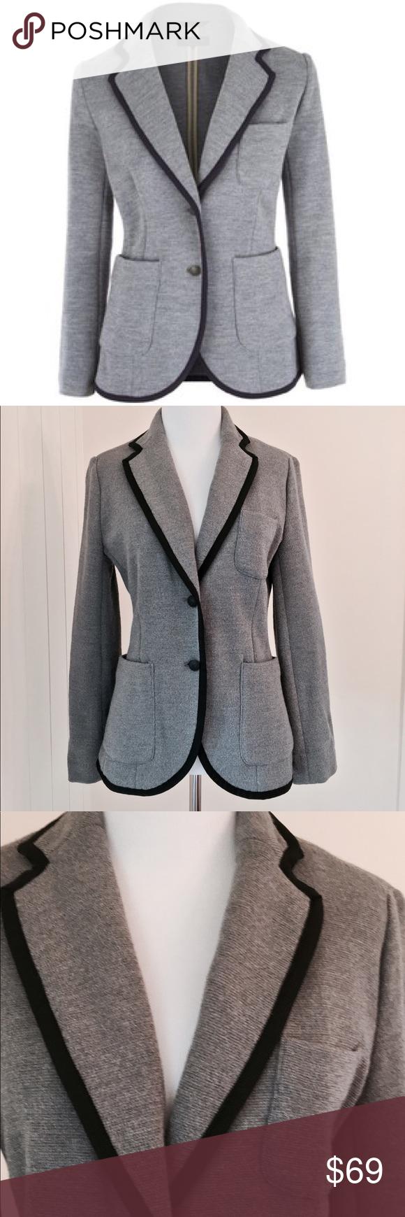 RAG & BONE Bromley Gray Blazer w Black Trim Like new condition. Beautiful wool Knit Gray Blazer w back trim. rag & bone Jackets & Coats Blazers