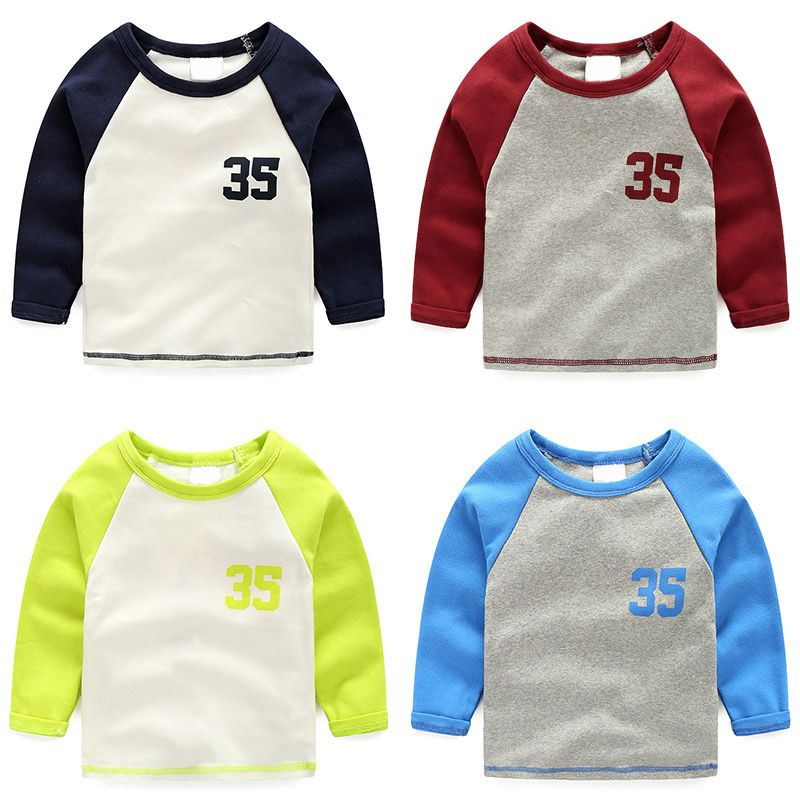 c413fae53 Click to Buy << Autumn Winter Cotton Kids T Shirt patchwork Long Sleeve  Baby Boys Girls T-Shirt Children Pullovers Tops printed Tee Boys Clothes  #Affiliate