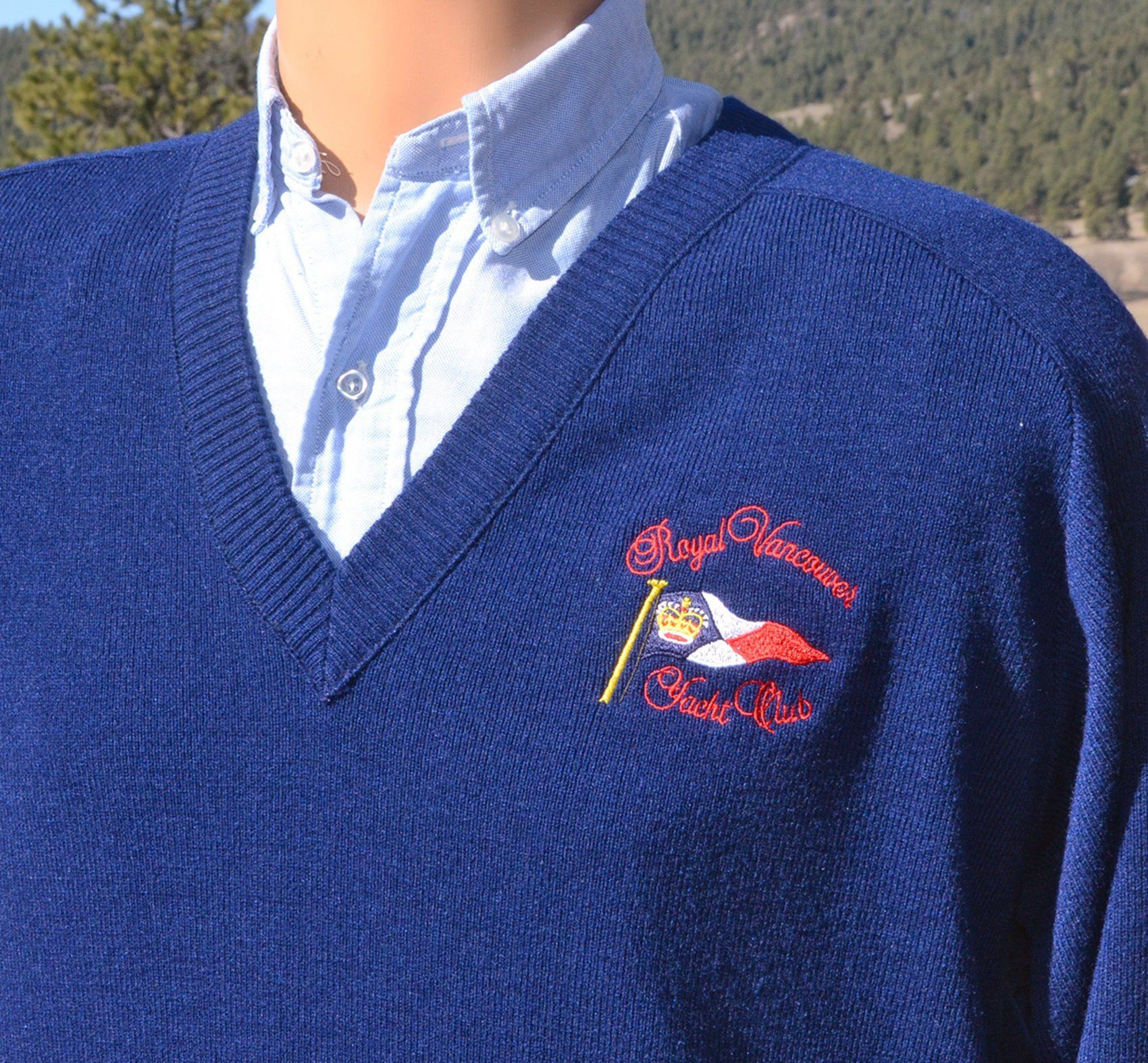 Vintage 80s Sweater Royal Vancouver Yacht Club V Neck Rvyc Blue Xl Large Preppy Men Sweater 80s Sweater Vneck Sweater