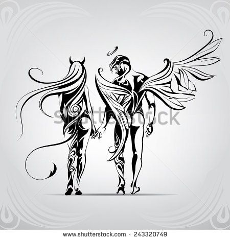 Angels and demons in the ornament stock vector 123 for Badass angel tattoos