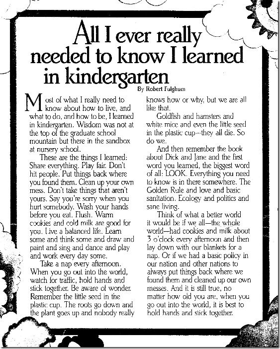 All I Really Need to Know I Learned in Kindergarten Summary