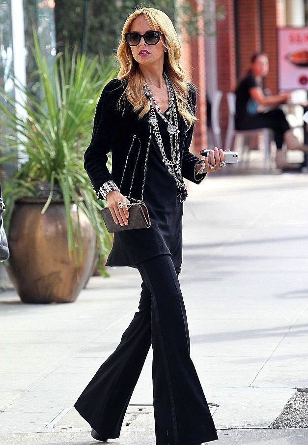 1c4e2e9ca9 rachel zoe - black with dark trouser jeans and lots of accessories  so  effortlessly stylish