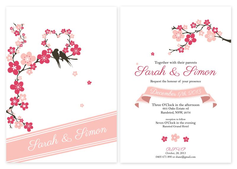cherry blossom hearts personalised wedding invitations - cherry, Wedding invitations