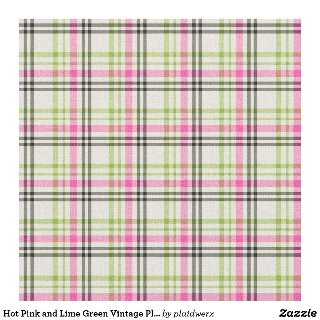 Hot Pink And Lime Green Vintage Plaid Fabric Vintage Plaid Plaid Fabric Lime Green
