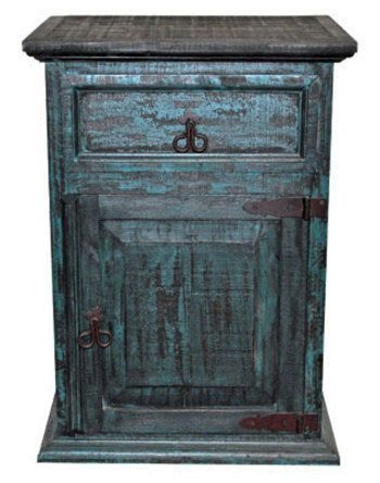 Turquoise Scrape Nightstand - Western - Rustic - Real Wood - Free Shipping -