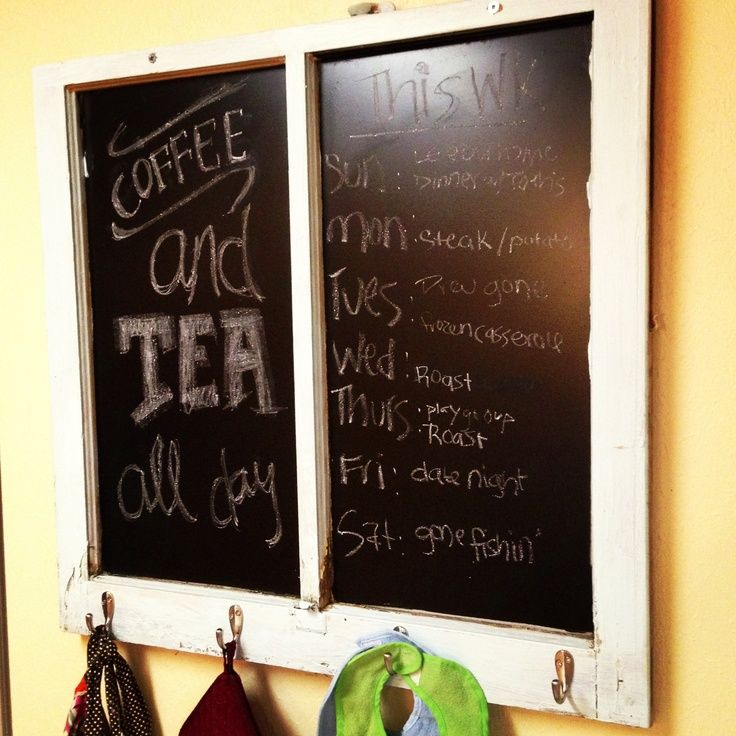 Old Window Frames as Decoration | Old window frame with chalkboard ...