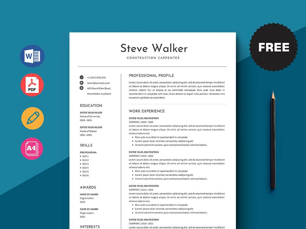 Free Construction Carpenter Resume Template in 2020